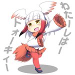 1girl :d bangs bird_tail bird_wings black_hair blue_footwear blunt_bangs blush chibi commentary_request empty_eyes eyebrows_visible_through_hair full_body gloves gradient_hair head_wings hinotama_(hinotama422) japanese_crested_ibis_(kemono_friends) kemono_friends leg_up long_hair long_sleeves mary_janes miniskirt multicolored_hair no_nose open_mouth orange_skirt pantyhose pleated_skirt red_gloves red_hair red_legwear shirt shoes simple_background skirt smile solo standing standing_on_one_leg translation_request white_background white_hair white_shirt wide_sleeves wings yellow_eyes