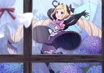 1girl :d arms_up black_bloomers black_bow black_dress black_footwear black_gloves black_legwear blonde_hair bloomers blue_flower blue_umbrella blurry blurry_foreground blush boots bow commentary_request day depth_of_field dress elise_(fire_emblem) fire_emblem fire_emblem_fates flower gloves hair_bow holding holding_umbrella hydrangea indoors long_hair long_sleeves multicolored_hair open_mouth pink_bow puffy_long_sleeves puffy_sleeves purple_eyes purple_flower purple_hair rain smile solo streaked_hair thigh_boots thighhighs transistor twintails umbrella underwear very_long_hair window