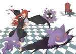 1girl bangs bare_arms bat_wings black_footwear black_skirt black_vest black_wings bright_pupils buttons chair checkered checkered_floor collared_shirt crossover demon_girl eyebrows eyelashes fangs full_body gastly gen_1_pokemon gengar hand_on_hip haunter head_wings highres koakuma long_hair looking_at_viewer necktie open_mouth pink_eyes pink_pupils pointy_ears poke_ball poke_ball_(generic) pokemon pokemon_(creature) red_hair red_neckwear shadow shirt shoes skirt skirt_set solo standing tongue touhou ueno_(sakumogu-029) vest white_shirt wings
