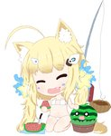 1girl ^_^ ahoge animal_ears azur_lane bailingxiao_jiu bangs bare_arms bare_legs bare_shoulders barefoot bikini blush cat_ears chibi closed_eyes collarbone commentary_request conch eldridge_(azur_lane) eyebrows_visible_through_hair eyepatch_bikini facial_mark facing_viewer fang fishing_hook fishing_line fishing_rod food food_on_face fruit full_body hair_ornament head_tilt highres holding holding_food knife long_hair navel open_mouth seiza side-tie_bikini simple_background sitting solo star star_hair_ornament swimsuit twintails very_long_hair watermelon white_background white_bikini