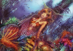 1girl dutch_angle fish horns mermaid monster_girl munashichi orange_hair original sitting solo underwater underwater_city