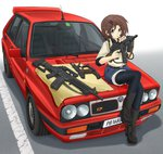 1girl aqua_eyes assault_rifle barrel_(weapon) belt belt_buckle beretta_93r beretta_ar70/90 beretta_m12 bipod boots brown_hair buckle candy car collared_shirt commentary_request denim denim_shorts ears eyebrows_visible_through_hair food foregrip ground_vehicle gun hair_ornament hairclip handgun headlight highres holster lancia_(brand) lancia_delta_hf_integrale license_plate lollipop machine_pistol magazine_(weapon) mikeran_(mikelan) motor_vehicle on_vehicle original pantyhose pistol rear-view_mirror rifle seatbelt shirt short_hair shorts side_mirror sleeves_rolled_up sling submachine_gun trigger_discipline weapon