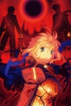 1girl 2boys absurdres armor artoria_pendragon_(all) berserker_(fate/zero) black_keys blonde_hair blood blood_on_face cover emiya_kiritsugu fate/zero fate_(series) fire green_eyes highres holy_grail_(fate) kotomine_kirei long_image multiple_boys saber stick_poster sword takeuchi_takashi tall_image weapon