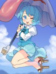 1girl ;p blue_eyes blue_hair cloud commentary_request day flying geta karakasa_obake one_eye_closed pine short_hair sky solo tatara_kogasa tongue tongue_out touhou umbrella