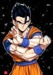 1boy black_eyes black_hair chris_re5 clenched_hand dougi dragon_ball dragon_ball_z fighting_stance highres male_focus muscle outline serious signature solo son_gohan spiked_hair triangle upper_body wristband
