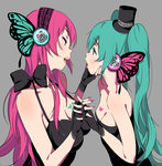 2girls eye_contact fingerless_gloves gloves green_hair hand_on_another's_chin hat hatsune_miku holding_hands interlocked_fingers long_hair looking_at_another magnet_(vocaloid) megurine_luka mini_hat mini_top_hat multiple_girls nail_polish open_mouth red_hair senjitsu_musou top_hat twintails vocaloid yuri