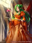 1girl bangs breasts brown_eyes collarbone commentary_request company_connection copyright_name day dress elincia_ridell_crimea fire_emblem fire_emblem:_path_of_radiance fire_emblem_cipher green_eyes hair_bun holding indoors jewelry konfuzikokon light_particles light_rays long_dress long_hair long_sleeves medium_breasts official_art open_mouth orange_dress puffy_sleeves shiny shiny_hair smile solo staff sword tied_hair weapon wide_sleeves