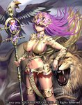1girl :| arm_rest armlet bird breasts closed_mouth eagle gem glint grey_sky guardian_cross headpiece holding holding_staff large_breasts lion long_hair looking_at_viewer nail_polish navel official_art open_mouth outdoors purple_hair raypass red_eyes red_nails staff standing thighlet watermark