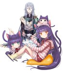1boy 1girl 1other :t androgynous animal_ears aqua_eyes bangs barefoot blunt_bangs blush bob_cut bow braid cat_ears cat_slippers cat_tail chin_rest closed_eyes commentary_request cup drawing_tablet eyebrows_visible_through_hair gloves headband highres holding holding_cup holding_stylus hood hood_down hoodie knees_up kuroi kuroinyan long_hair long_sleeves looking_at_viewer looking_to_the_side lying mebius_(pixiv_fantasia) monocle multiple_girls on_head on_stomach orange_eyes pixiv_fantasia pixiv_fantasia_new_world pout purple_hair short_hair silver_hair single_glove sitting slippers socks striped striped_hoodie stylus tail teacup twin_braids