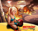 1girl bikini blue_bikini blue_eyes breasts cleavage commentary explosion fingerless_gloves gloves headwear_removed helmet helmet_removed lips long_hair medium_breasts metroid metroid_(classic) navel nintendo nose over-kneehighs revision samus_aran solo straddling strap_gap sweat swimsuit tekuho_no_habo thighhighs