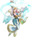 1girl arm_up bangs blonde_hair blue_dress blue_eyes book breasts dress earrings fingernails fire_emblem fire_emblem_heroes floating floating_object full_body fur_trim gradient gradient_hair gunnthra_(fire_emblem) hair_ornament highres jewelry long_dress long_hair long_sleeves maeshima_shigeki magic medium_breasts multicolored_hair official_art open_book pink_hair smile solo sparkle transparent_background veil white_footwear wide_sleeves