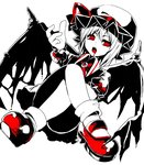 1girl :o alternate_wings ascot bad_id bad_twitter_id bangs blood blood_in_mouth blood_on_face bobby_socks bow brooch collared_shirt convenient_leg crossed_legs demon_wings eyebrows_visible_through_hair fang frilled_skirt frilled_sleeves frills from_below hair_between_eyes hat hat_ribbon jewelry legs looking_at_viewer looking_away looking_down looking_to_the_side mary_janes miniskirt mob_cap open_mouth puffy_short_sleeves puffy_sleeves red_bow red_eyes red_footwear red_ribbon remilia_scarlet ribbon ringed_eyes shiori_(moechin) shirt shoes short_hair short_sleeves simple_background sitting skirt skirt_set socks solo spikes spot_color straight_hair teeth tongue torn_wings touhou uneven_eyes v-shaped_eyebrows vampire white_background wings wristband