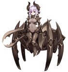 1girl carapace claws horns insect_girl kenkou_cross monster_girl monster_girl_encyclopedia purple_eyes short_hair short_hair_with_long_locks silver_hair soldier_beetle solo