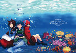 3girls animal_ears blue_hair book bow brooch brown_hair cape comic cover cover_page doujin_cover dress hair_bow head_fins highres imaizumi_kagerou japanese_clothes jewelry kimono long_hair long_sleeves mermaid monster_girl multiple_girls obi red_hair sash scan sekibanki shikushiku_(amamori_weekly) short_hair skirt tail touhou translation_request wakasagihime wolf_ears wolf_tail