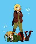 2girls america_(hetalia) axis_powers_hetalia bad_id bad_pixiv_id blonde_hair blue_background blue_eyes blush boots eating food genderswap genderswap_(mtf) glasses gloves green_eyes hair_ornament hairclip hamburger hirosuke_(psychexx) jacket looking_at_viewer multiple_girls short_hair simple_background star thighhighs twintails united_kingdom_(hetalia)