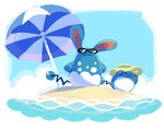 :3 artsy-theo azumarill beach blue_sky blue_theme closed_mouth cloud commentary creature day english_commentary evolution gen_2_pokemon hat marill no_humans ocean parasol pokemon pokemon_(creature) sand sky sun_hat sunglasses umbrella
