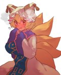!! 1girl bangs blonde_hair blush breasts brown_eyes dress eyebrows_visible_through_hair fox_tail hair_between_eyes hands_in_sleeves hat highres large_breasts looking_at_viewer masanaga_(tsukasa) mob_cap multiple_tails nose_blush open_mouth short_hair simple_background solo tabard tail touhou white_background white_dress white_hat yakumo_ran