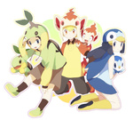 1girl 2boys alternate_costume black_hair blonde_hair blue_eyes blue_hair chimchar chimchar_(cosplay) cosplay full_body hair_ornament hikari_(pokemon) jun_(pokemon) kouki_(pokemon) looking_at_viewer multiple_boys piplup piplup_(cosplay) pokemon pokemon_(game) pokemon_dppt smile turtwig turtwig_(cosplay) yamo_(ly)