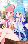 2girls :d :o aikatsu!_(series) aikatsu_friends! bag bangs bare_legs blue_bow blue_hair blush bokkun_(doyagaobyo) bow braid brand_name_imitation brown_eyes cardigan city cityscape clothes_around_waist cloud cloudy_sky commentary_request cowboy_shot crossed_legs cup day disposable_cup drinking_straw eyebrows_visible_through_hair gradient_hair gyaru hair_between_eyes hair_bow hair_ornament hairband hand_on_another's_hip heart heart_necklace highres holding holding_cup jewelry kogal long_hair looking_at_viewer loose_clothes loose_necktie loose_shirt minato_mio multicolored_hair multiple_girls nail_art nail_polish necktie open_mouth orange_hair outdoors pink_hair plaid plaid_skirt plant pleated_skirt pose purple_eyes purple_hair real_world_location school_bag school_uniform scrunchie shadow shibuya_(tokyo) shibuya_109 shirt shoulder_bag sitting skirt sky sleeves_rolled_up smile star star_hair_ornament swept_bangs tokyo_(city) triangle_earrings unbuttoned_sleeves v white_shirt wrist_scrunchie yuri yuuki_aine