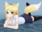 1girl absurdres animal_ears black_legwear blonde_hair blush breasts contemporary dog_days fox_ears fox_tail green_eyes hand_on_head happy highres long_hair looking_at_viewer nao_(ritsancrossover) school_uniform skirt solo tail thighhighs yukikaze_panettone zettai_ryouiki