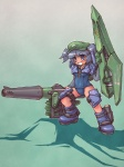 1girl arm_cannon blue_hair cucumber hat kawashiro_nitori key mecha_musume one-piece_swimsuit open_mouth sankuma school_swimsuit smile solo swimsuit touhou two_side_up weapon