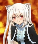 1girl al_bhed_eyes animal_ears bangs blush breasts cat_ears closed_mouth empty_eyes eyebrows hair_between_eyes highres long_hair looking_at_viewer medium_breasts nora_cat nora_cat_channel outsuchi red_eyes smile solo twintails upper_body virtual_youtuber white_hair