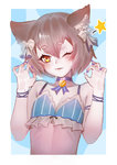 1boy ;3 animal_ears arm_ribbon bangs bare_arms bare_shoulders black_bow blue_background blue_bra blue_choker blue_nails blush bob_cut bolo_tie bow bow_bra bra breasts cat_ears choker claw_pose cleavage collarbone commentary eyebrows_visible_through_hair eyelashes felix_argyle frilled_bra frills hair_between_eyes hair_bow half-closed_eye hands_up head_tilt highres jewelry looking_at_viewer male_focus midriff nail_polish otoko_no_ko outside_border parted_bangs parted_lips pendant petite re:zero_kara_hajimeru_isekai_seikatsu ribbon short_eyebrows short_hair simple_background slit_pupils solo spaghetti_strap star striped thick_eyebrows underwear upper_body vertical-striped_bra vertical_stripes white_border white_bow wtcolor yellow_eyes