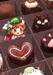 1girl :3 :d animal_ears blush bow bowtie box box_of_chocolates brown_hair cat_ears cat_tail chen chibi chocolate dress drooling ear_piercing eyebrows_visible_through_hair fang green_hat hat heart heart-shaped_pupils highres ibaraki_natou in_box in_container long_sleeves mob_cap multiple_tails nekomata open_mouth piercing red_dress red_eyes short_hair signature smile solo symbol-shaped_pupils tail tareme touhou two_tails white_bow white_neckwear