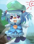 blue_hair clothed_pokemon cosplay fangs gen_5_pokemon hair_bobbles hair_ornament iyoda_mato kawashiro_nitori kawashiro_nitori_(cosplay) no_humans oshawott pokemon pokemon_(creature) solo touhou twintails two_side_up