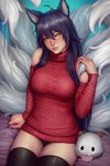1girl ahoge ahri animal_ears black_legwear blue_hair blush breasts closed_mouth commentary dated deviantart_username fox_ears fox_tail hair_between_eyes hand_up head_tilt highres large_breasts league_of_legends legs_together lips long_hair long_sleeves looking_at_viewer multiple_tails panties patreon_username pink_lips purple_panties realistic red_sweater sciamano240 shoulder_cutout signature sitting smile solo stuffed_toy sweater tail underwear whisker_markings yellow_eyes