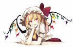 1girl ascot bangs blonde_hair eyebrows_visible_through_hair fingernails flandre_scarlet hat hat_ribbon head_rest hisona_(suaritesumi) leaning_forward long_fingernails long_hair looking_at_viewer mob_cap puffy_short_sleeves puffy_sleeves red_eyes red_ribbon ribbon short_sleeves simple_background smile solo touhou uneven_eyes white_background white_hat wings wrist_cuffs yellow_neckwear