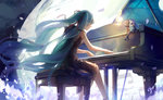 1girl aqua_hair closed_eyes dress hair_ribbon hatsune_miku instrument kirayoci long_hair minigirl musical_note piano playing_instrument ribbon sitting solo twintails very_long_hair vocaloid