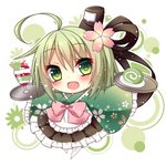 1girl :d ahoge apron bangs black_hat black_ribbon black_skirt blush bow cake cherry cherry_blossom_print chibi eyebrows_visible_through_hair fang flower food frilled_apron frilled_kimono frilled_skirt frilled_sleeves frills fruit ghost_tail green_eyes green_hair green_kimono hair_between_eyes hair_flower hair_ornament hair_ribbon hat himetsuki_luna holding holding_tray japanese_clothes kimono long_hair long_sleeves looking_at_viewer open_mouth parfait pink_bow pink_flower pleated_skirt print_kimono ribbon short_kimono skirt sleeves_past_fingers sleeves_past_wrists smile soga_no_tojiko solo swiss_roll tate_eboshi touhou tray wa_maid wafer_stick waist_apron white_apron white_background wide_sleeves