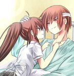 1boy 1girl brother_and_sister brown_hair hospital_gown little_busters! long_hair nashihako natsume_kyousuke natsume_rin ponytail red_eyes school_uniform short_hair siblings