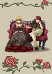 1boy 1girl absurdres artist_request bangs beatrice blue_eyes blunt_bangs cape choker collarbone couch crossed_legs dress formal hair_down hand_in_another's_hair highres long_hair looking_at_another necktie official_art red_hair red_shirt shirt sitting smile suit umineko_no_naku_koro_ni ushiromiya_battler wavy_hair