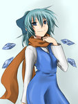 1girl blue_dress blue_eyes blue_hair bow cirno cirno-nee dress hair_bow ice ice_wings konosuke_dagame long_hair long_sleeves looking_at_viewer scarf simple_background smile solo touhou wings