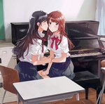 2girls ^_^ arm_holding bangs black_hair black_skirt blush brown_hair chair cheek_kiss classroom closed_eyes collared_shirt crying crying_with_eyes_open curtains desk dress_shirt file_cabinet fly_(marguerite) from_side hand_on_lap indoors instrument kiss long_hair multiple_girls original paper piano piano_bench pleated_skirt school_chair school_desk school_uniform shirt short_sleeves sitting skirt tears upright_piano white_shirt yuri