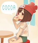 1girl beanie blush brown_eyes brown_hair cup gen_3_pokemon hat mizuki_(pokemon_sm) mug nagiko_(mangalove1111) pokemon pokemon_(creature) pokemon_(game) pokemon_sm red_hat shirt short_hair short_shorts shorts skitty solo t-shirt tapu_cocoa tied_shirt