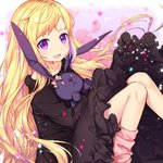 1girl :d alternate_costume alternate_hairstyle bangs black_dress blonde_hair collarbone commentary_request dress elise_(fire_emblem_if) eyebrows_visible_through_hair fire_emblem fire_emblem_if floral_background flower highres knees_together_feet_apart knees_up long_hair looking_at_viewer loose_socks multicolored_hair object_hug open_mouth pink_flower pink_legwear pink_rose purple_eyes purple_hair rose rose_background sitting smile solo streaked_hair stuffed_animal stuffed_bunny stuffed_toy transistor very_long_hair
