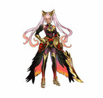 1girl bangs bare_shoulders dark_skin feather_trim fire_emblem fire_emblem_heroes full_body gauntlets gradient gradient_hair hair_ornament hand_on_hip holding holding_weapon laevateinn_(fire_emblem_heroes) long_hair maeshima_shigeki multicolored_hair official_art pink_hair red_eyes red_hair simple_background standing sword thighhighs turtleneck twintails weapon white_background