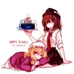 2girls arm_support bangs black_headwear black_skirt blonde_hair blush bow breasts brown_eyes brown_hair bunny cake commentary_request dress eyebrows_visible_through_hair fedora food hair_between_eyes hair_bow happy_birthday hat hat_bow head_tilt heart holding holding_food lying maribel_hearn medium_breasts miniskirt mob_cap multiple_girls necktie on_stomach one_eye_closed parted_lips petticoat pleated_skirt purple_dress purple_eyes red_neckwear shadow shan shirt short_hair short_sleeves simple_background sitting skirt thighs touhou usami_renko wariza white_background white_bow white_headwear white_legwear white_shirt wing_collar