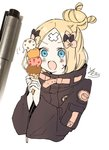 1girl abigail_williams_(fate/grand_order) bangs black_bow black_jacket blonde_hair blue_eyes blush bow cropped_torso crossed_bandaids eyebrows_visible_through_hair fate/grand_order fate_(series) food hair_bow hair_bun hands_up heroic_spirit_traveling_outfit highres holding holding_food ice_cream_cone jacket long_hair long_sleeves looking_away open_mouth orange_bow parted_bangs photo quadruple_scoop signature simple_background sofra solo sweat traditional_media upper_body white_background