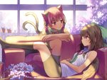 2girls :3 animal_ears backlighting bangs bare_arms bike_shorts black_legwear black_ribbon black_wings bow breasts brown_hair cannon cat_ears cat_tail closed_mouth commentary_request couch day eye_contact eyebrows_visible_through_hair feathered_wings green_bow hair_bow hair_ribbon indoors kaenbyou_rin korean_commentary leaning_forward long_hair looking_at_another lying misha_(hoongju) multiple_girls multiple_tails no_shoes on_back on_couch petals plant potted_plant red_bow red_eyes red_hair reiuji_utsuho ribbon shirt short_sleeves sleeveless sleeveless_shirt small_breasts smile tail third_eye touhou two_tails white_shirt window wings