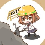 1girl :o anchor badge black_legwear blue_skirt brown_eyes brown_hair chibi construction_worker fang hair_ornament hairclip hardhat helmet holding_anchor ikazuchi_(kantai_collection) kantai_collection neckerchief open_mouth pleated_skirt school_uniform serafuku short_hair skirt solo tarebin thighhighs