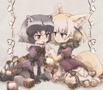 2girls adapted_costume animal_ear_fluff animal_ears blonde_hair bow bowtie chocolate commentary common_raccoon_(kemono_friends) elbow_gloves eyebrows_visible_through_hair fennec_(kemono_friends) finger_to_another's_mouth fox_ears fox_tail fur_collar fur_trim gloves grey_hair kemono_friends kolshica multicolored_hair multiple_girls no_shoes pantyhose pleated_skirt puffy_short_sleeves puffy_sleeves raccoon_ears raccoon_tail short_hair short_sleeves skirt smile sweater tail thigh_bow thighhighs zettai_ryouiki