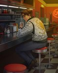 1boy arm_support back bar_stool brown_eyes brown_hair checkered checkered_floor closed_mouth commentary counter cup denim diner drive_(movie) exit_sign food fujiwara_takumi highres indoors initial_d jacket jeans ketchup ketchup_bottle long_sleeves looking_at_viewer monorus mug mustard mustard_bottle napkin napkin_holder neon_lights pants parody pepper_shaker ryan_gosling salt_shaker shelf short_hair sitting solo steam stool