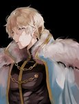 1boy black_background blonde_hair cape contest_winner fate/grand_order fate_(series) fur-trimmed_cape fur_trim gawain_(fate/grand_order) hair_between_eyes highres looking_at_viewer male_focus parted_lips pesso_fgo pixiv_fate/grand_order_contest_1 short_hair solo tears