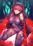 1girl blush bodysuit boots breasts covered_collarbone covered_navel eyebrows_visible_through_hair fate/grand_order fate_(series) focused forest hair_between_eyes headdress high_heel_boots high_heels impossible_clothes large_breasts long_hair looking_at_viewer nature parted_lips pauldrons polearm purple_bodysuit purple_hair purple_hood red_eyes ryuji_(ikeriu) scathach_(fate/grand_order) sitting solo spear very_long_hair wariza weapon