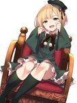 1girl :d armchair bangs black_bow black_ribbon blonde_hair blush bow cabbie_hat chair commentary_request dress dutch_angle eyebrows_visible_through_hair fate_(series) frilled_dress frills green_dress green_headwear green_legwear hands_up hat head_tilt highres kneehighs long_sleeves looking_at_viewer lord_el-melloi_ii_case_files on_chair open_mouth pom_pom_(clothes) reines_el-melloi_archisorte ribbon short_hair simple_background sitting sleeves_past_wrists smile solo tilted_headwear white_background wide_sleeves younger yuuuuu