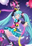 1girl ;d ahoge arm_up balloon black_footwear black_sleeves blue_bow blue_eyes blue_hair blue_skirt boots bow detached_sleeves floating_hair frilled_skirt frills hair_between_eyes hair_bow hatsune_miku highres holding layered_skirt long_hair long_sleeves magical_mirai_(vocaloid) megaphone mikmix miniskirt one_eye_closed open_mouth outstretched_arm outstretched_hand pink_bow skirt smile solo thigh_boots thighhighs twintails very_long_hair vocaloid white_bow white_legwear yellow_bow